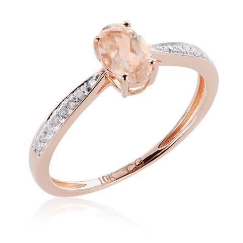 10k Rose Gold Morganite and 1/10ct TDW White Diamond Ring (G-H, I2-I3)