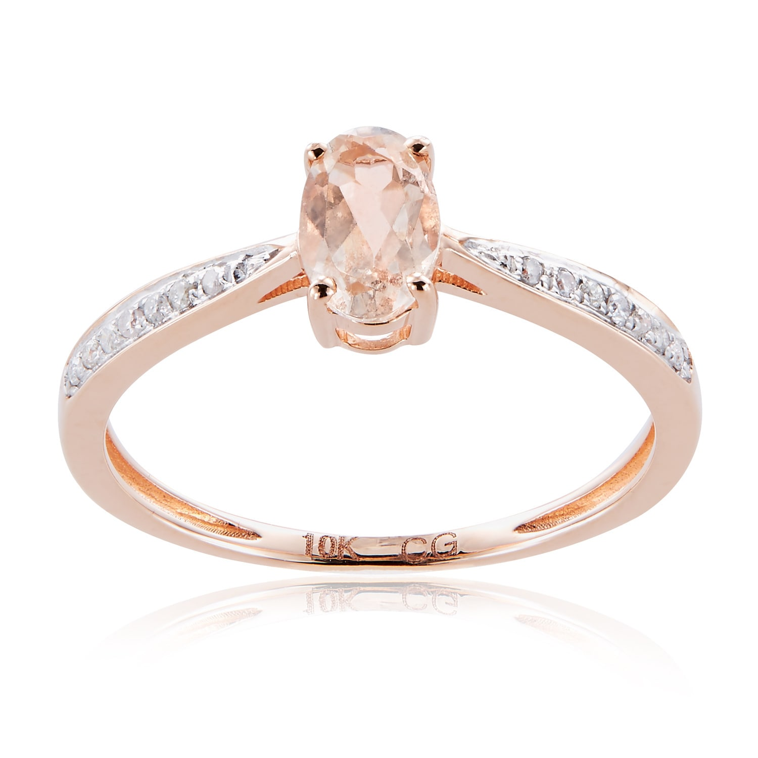 Diamond Wedding Band in 10K Pink Gold G-H,I2-I3 Size-4.5 1//10 cttw,