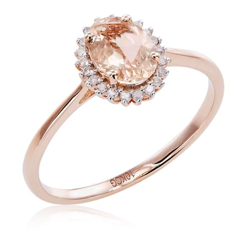 10k Rose Gold Morganite and 1/10ct TDW White Diamond Halo Ring - Pink