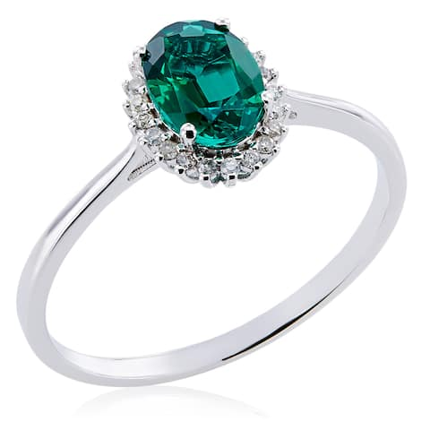 10k White Gold Created Emerald and 1/10ct TDW Diamond Ring - Green