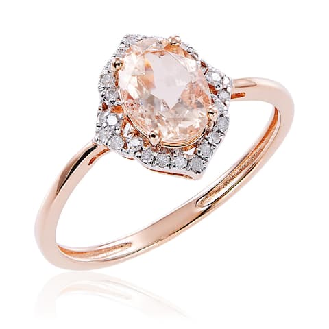 10k Rose Gold Morganite and Diamond Ring (G-H, I2-I3) - Pink
