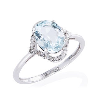 10K White Gold Aquamarine and 1/10ct TDW White Diamond Ring (G-H, I2-I3)
