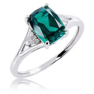 10k White Gold Emerald and Diamond Ring (G-H, 12-13)