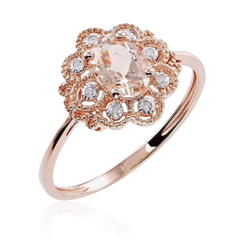 10k Rose Gold Morganite and Diamond Accent Ring with Milgrain Detail - Pink