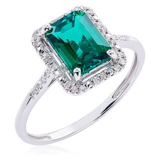 10k White Gold Created Emerald and Diamond Ring