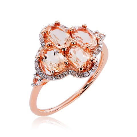 10k Rose Gold Morganite, White Topaz, and Diamond Accent Ring - Pink