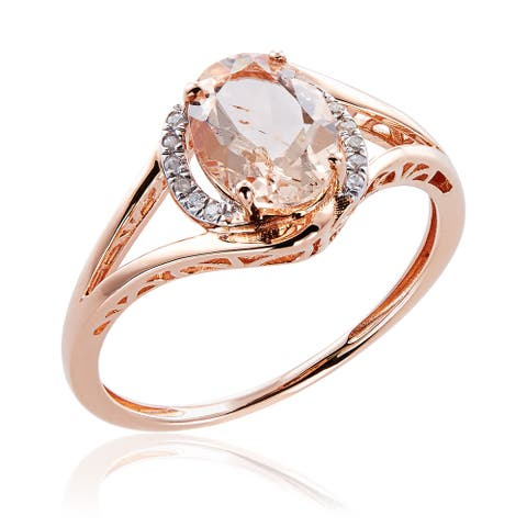 10k Rose Gold Morganite and Diamond Ring - Pink
