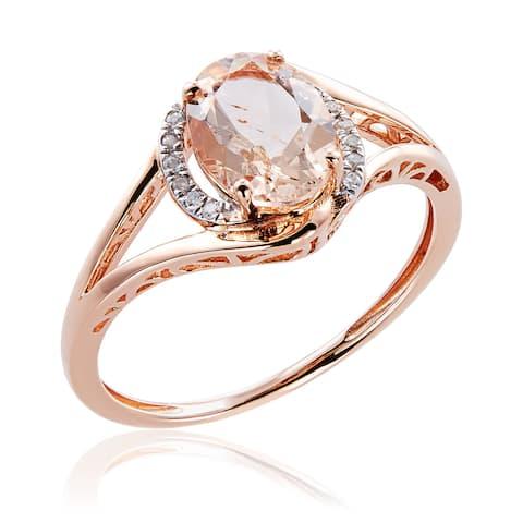 10k Rose Gold Morganite and Diamond Ring - Pink