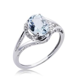 10k White Gold Aquamarine and Diamond Accent Ring