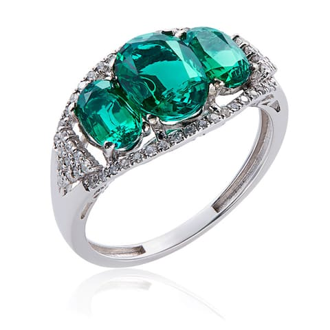 10k White Gold Emerald and Diamond Ring (G-H, 12-13) - Green