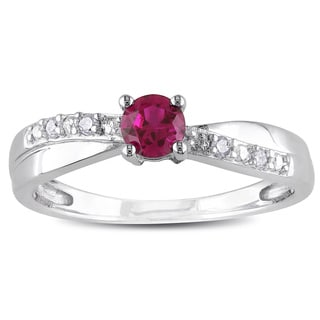 Catherine Catherine Malandrino Created Ruby and Diamond Crossover Engagement Ring in Sterling Silver (G-H,I2-I3)