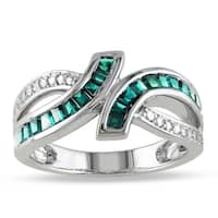 Miadora Baguette-Cut Simulated Emerald Crossover Ring in Sterling Silver - Green