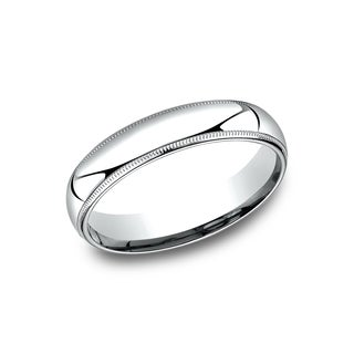 Mens 5mm Platinum Comfort-Fit Traditional Milgrain Wedding Band