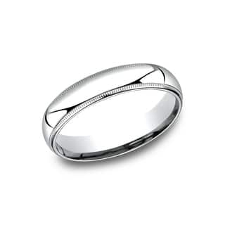 mens 5mm platinum comfort fit traditional milgrain wedding band - Mens Wedding Rings Platinum