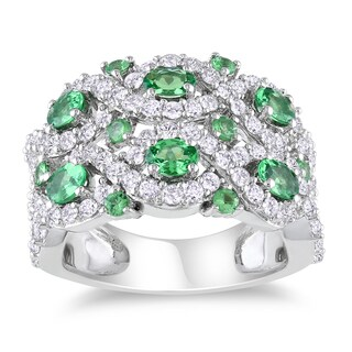 Catherine Catherine Malandrino Tsavorite and White Sapphire Crossover Ring in Sterling Silver
