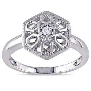 Catherine Catherine Malandrino Diamond Hexagonal Flower Ring in Sterling Silver