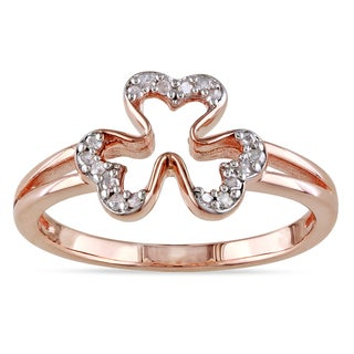 Catherine Catherine Malandrino 1/10ct TDW Diamond Open Clover Ring in Rose Plated Sterling Silver
