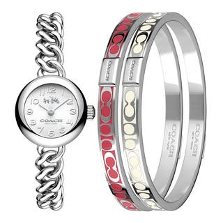 Coach Waverly Stainless Steel Women's Watch and Bangle Set|https://ak1.ostkcdn.com/images/products/14198876/P20794330.jpg?impolicy=medium