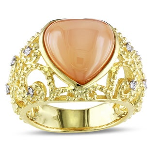 Catherine Catherine Malandrino 1/10ct TDW Diamond Orange Moonstone Filigree Ring in Yellow Plated Sterling Silver (G-H,I2-I3)
