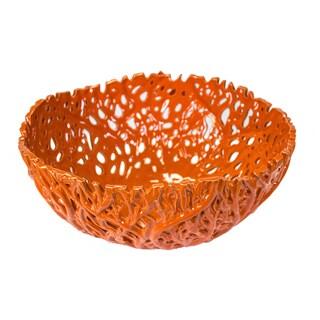 Sagebrook Home-Decorative Ceramic Orange Coral Bowl