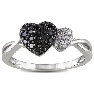 Catherine Catherine Malandrino 1/4ct TDW Black and White Diamond Heart Ring in Sterling Silver with Black Rhodium (G-H,I2-I3)