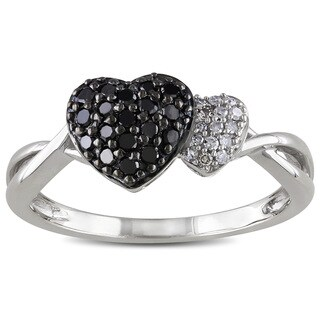 Catherine Catherine Malandrino 1/4ct TDW Black and White Diamond Heart Ring in Sterling Silver with