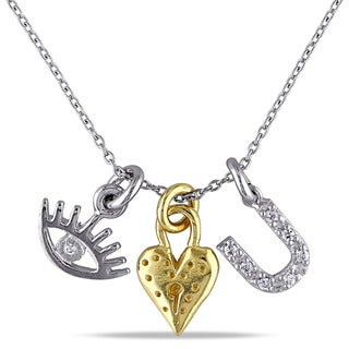 Catherine Catherine Malandrino Cubic Zirconia 'I Love You' Charm Necklace in 2-Tone White and Yellow Plated Sterling Silver