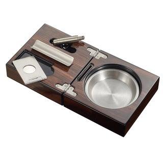 Visol Tamal Polished Walnut Travel Cigar Ashtray Kit