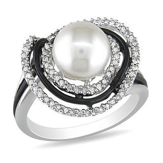 Catherine Catherine Malandrino Pearl and 1/4ct TDW Diamond Halo Ring in Sterling Silver W/Black Rhod