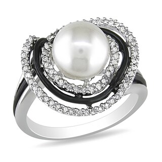 Miadora Pearl and 1/4ct TDW Diamond Halo Ring in Sterling Silver with Black Rhodium - White