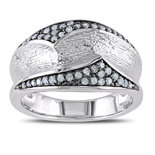 Catherine Catherine Malandrino 1/4ct TDW Diamond Abstract Ring in Sterling Silver with Black Rhodium Plating (G-H, I2-I3)