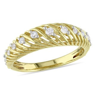 Catherine Catherine Malandrino 1/4ct TDW Diamond Twist Anniversary Band in Yellow Plated Sterling Si