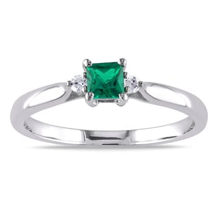 Catherine Catherine Malandrino Simulated Emerald and Diamond Accent 3-Stone Engagement Ring in Sterling Silver (G-H, I2-I3)