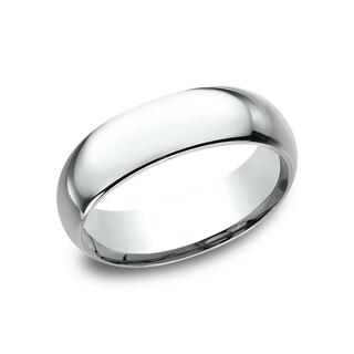 Men's 7 mm Traditional Domed Profile Comfort Fit Wedding Band - Platinum