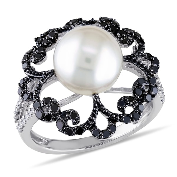 Catherine Catherine Malandrino Pearl 1/2ct TDW Black White Diamond Ring in Sterling Silver W/Black R