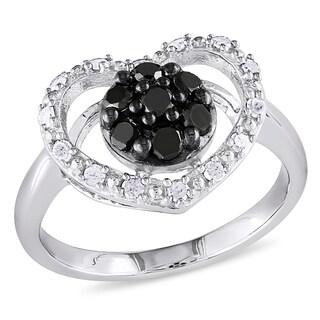 Catherine Catherine Malandrino 1/2ct TDW Black & White Diamond Flower Cluster Open Heart Ring in Sterling Silver (G-H,I2-I3)
