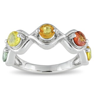 Catherine Catherine Malandrino Yellow Orange and Green Sapphire Infinity Anniversary Ring in Sterling Silver