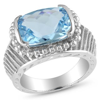 Catherine Catherine Malandrino Cushion-Cut Blue Topaz Textured Cocktail Ring in Sterling Silver