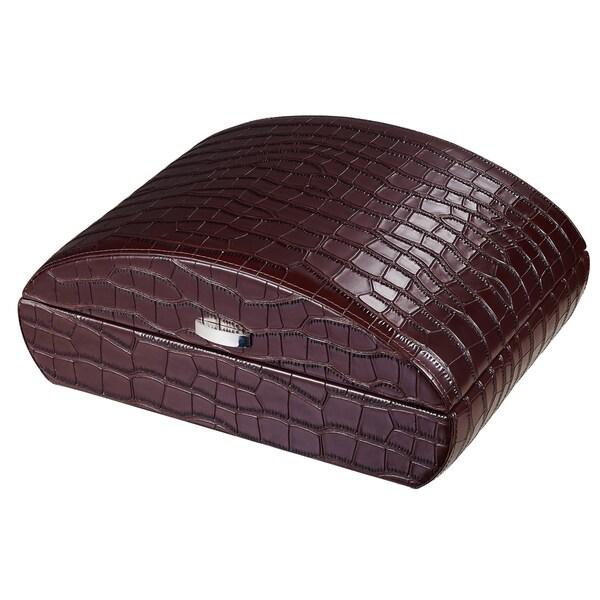 Visol Blake Crocodile Pattern Brown Leather Humidor