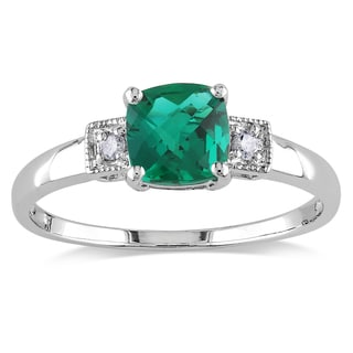 Catherine Catherine Malandrino Cushion-Cut Simulated Emerald & Diamond 3-Stone Engagement Ring in Sterling Silver (G-H,I2-I3)
