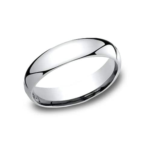 Men's 5 mm Traditional Domed Profile Comfort Fit Wedding Band - platinum