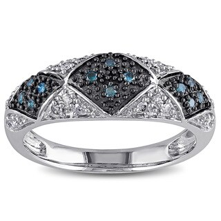 Catherine Catherine Malandrino 1/4ct TDW Blue and White Diamond Checkered Ring in Sterling Silver W/