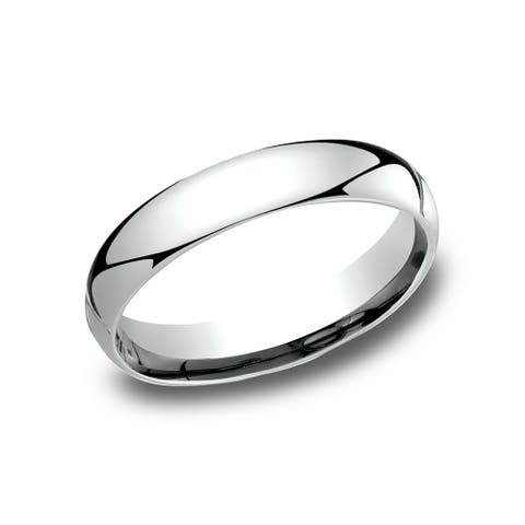 Men's 4 mm Traditional Domed Profile Comfort Fit Wedding Band - platinum