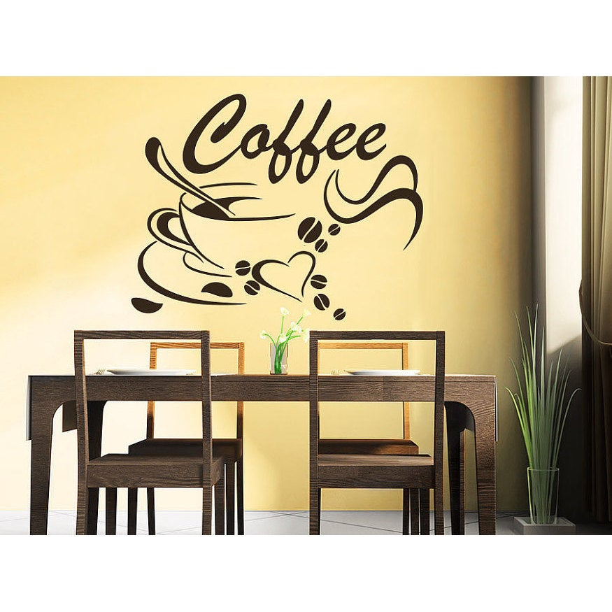 Coffee Beans Coffee Cup Decal Cafe Drinks Kitchen Bar Wall Decor Sticker Decal Size 22x26 Color Black Overstock 14198976