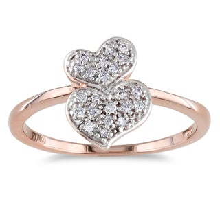 Catherine Catherine Malandrino 1/10ct TDW Diamond Double Cluster Heart Bypass Ring in Rose Plated Sterling Silver (G-H,I2-I3)