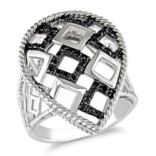 Catherine Catherine Malandrino 1/4ct TDW Diamond Lattice-Style Teardrop Ring in Sterling Silver W/Bl