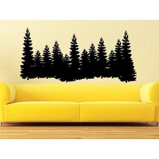 Pine Trees Forest Landscape Nature Vinyl Sticker Decal size 48x65 Color Black