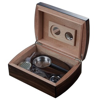 Visol Burkhard Wood Humidor Gift Set with Ashtray and Cutter
