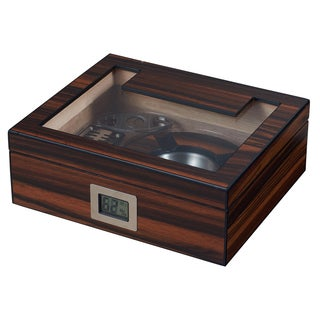 Visol Aidan Glass Top Humidor Gift Set with Cutter and Ashtray