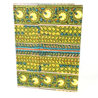 Handmade Green Rows Hard Cover Journal - Sustainable Threads (India)